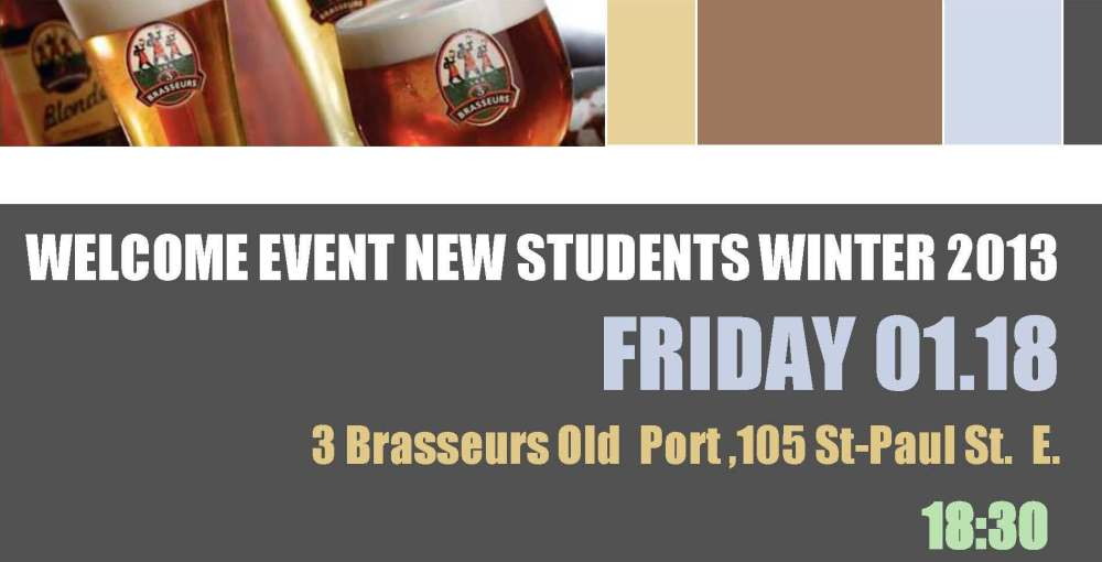 Invitation for the new students welcome event graduate for Cocktail 3 brasseurs